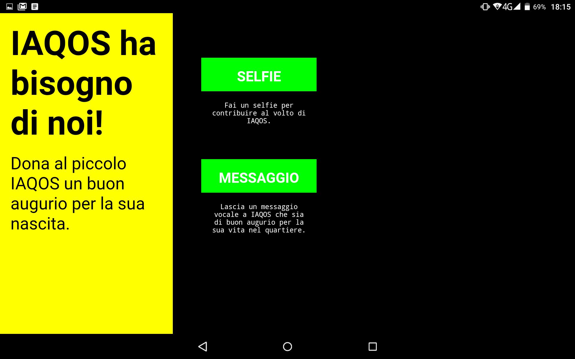 la app di IAQOS permette di lasciare messaggi vocali e immagini
